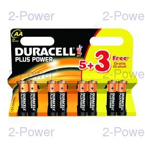 Duracell Plus Power AA 5 + 3 Free Pack